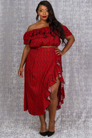 PLUS SIZE TOP AND SKIRTS SET