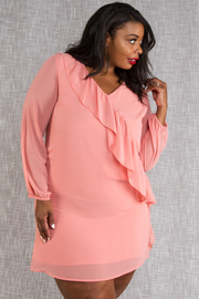 PLUS SIZE 3/4 SLEEVE MIDI DRESS