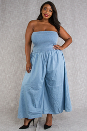 PLUS SIZE TUBE TOP JUMPSUITS