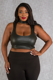 PLUS SIZE SEXY HALTER SLEEVELESS FAUX LEATHER TOP