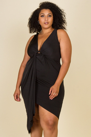 PLUS SIZE SLEEVELESS FRONT TWIST MIDI DRESS