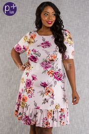 PLUS SIZE SHORT SLEEVE A-LINE MINI DRESS