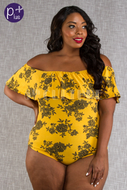 PLUS SIZE OFF SHOULDER SHORT SLEEVE  BODYSUITS