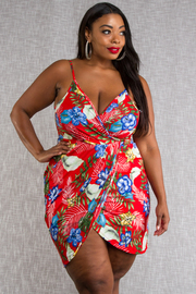 PLUS SIZE SLEEVELESS WRAP MINI DRESS