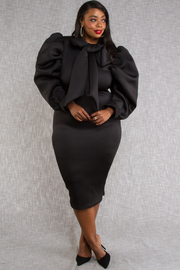 PLUS SIZE PUFFED OUT SLEEVES WITH BOW FITTED MINI DRESS