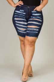 Plus Size Denim Destroyed Bermuda Shorts