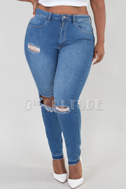 Plus Size Destroyed Knee Jeans