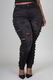 Plus size high waist featuring front sliced design Jeans