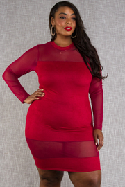 PLUS SIZE ROUND NECK LONG SLEEVE MESH COMBO FITTED DRESS