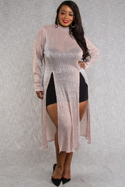 PLUS SIZE SEXY LUREX SEE THROUGH COVER UP LONG DRESS