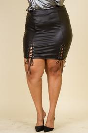 Plus Size PU Corsette Tie Skirt