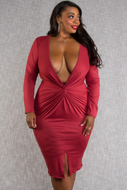 Plus Size Overlap deep v-neck front long sleeve front open skirt fitted dress