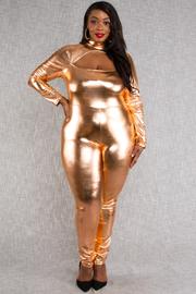 Plus Size Mock neck front hole long sleeve gold foil jumpsuit