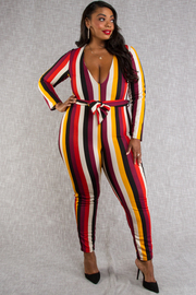 Plus Size Deep v-neck long sleeve multi stripe jumpsuit