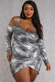 Plus Size Cold shoulder long sleeve silver foil fitted dress