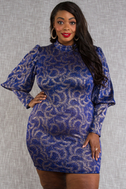 Plus Size Mock neck puffed long sleeve showy color print fitted dress