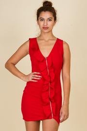 Front Ruffle Zipper Mini Dress
