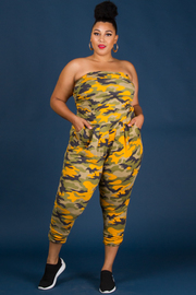 Plus Size Camo Print Tube Top Jumpsuit