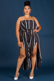 Plus Size Tube Top Front Leg Slit Jumpsuit