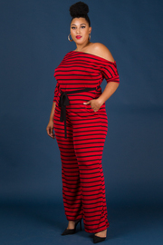 Plus Size Belted Off Shoulder 3/4 Sleeve Jumpsuit