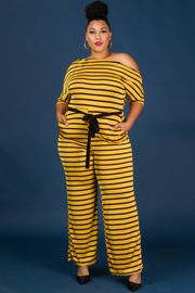 Plus Size Belted Off Shoulder 3/4 Sleeve Jumpsuit