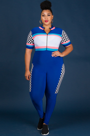 Plus Size Cheerleader Sports Jumpsuit