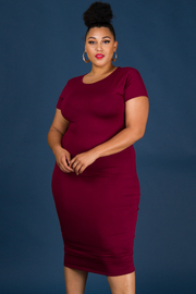 Plus Size Crew Neck Short Sleeve Jersey Dress