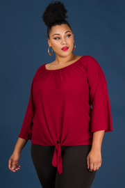 Plus Size Long Sleeve Crew-Neck Knotted Waist Top