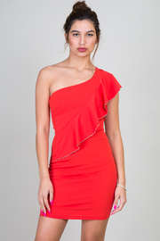 One Shoulder Ruffle Mini Dress