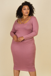 Plus Size Long Sleeve Detail Scoop Neckline Knee Length Dress