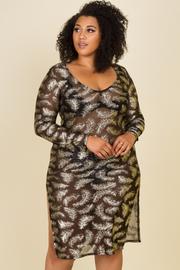 Plus Size Side Slit See Through Knee Dress