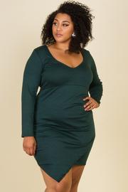 Plus Size Long Sleeve Drape Mini Dress