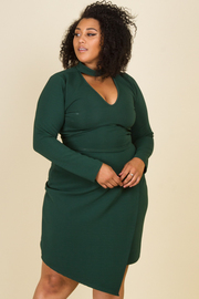 Pus Size Long Sleeve Chocker Neck Crop Top Drape Skirt Set