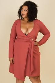 Plus Size Deep V-Neck Long Sleeve Wrap Dress