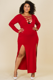 Plus Size Long Sleeve Woven Dress Featuring A Front V-Neckline With A Crisscross Design