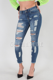 Rip Detail Raw Hem Skinny Jeans