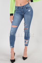 High-Waisted Destroyed Denim Skinny Jeans