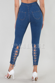 High Waist Skinny Jean With Crisscross Detail On The Back Leg