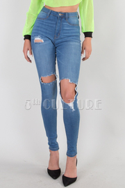 High Waisted Faux Front Pockets Leg Distress 2 Back Pockets Skinny Leg Jean