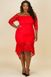 Plus Size Off Shoulder Lace Dress