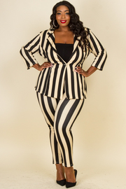 Plus Size Fitted Jacket and Pant Set