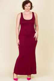 Plus Size Sleeveless Solid Long Dress