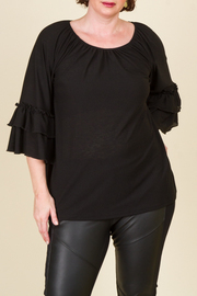 Plus Size Off Shoulder With A Poet Ruffle Long Sleeve Top