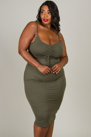 Plus Size Spaghetti Strap Ruched Dress
