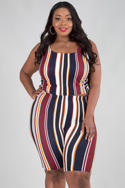 Plus Size Sleeveless Crop Top With Bermuda Legging Set