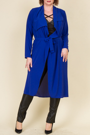 Plus Size Tie at The Waist Long Cardigan