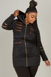 Plus Size See Through Hooded Jacket