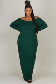 Plus Size Off Shoulder Long Sleeved Jersey Maxi Harem Dress