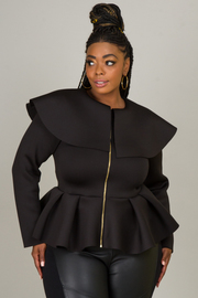 Plus Size Sailor Collar With Zipper Accent Top