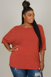 Plus Size Ruched On The Back Crew Neck Top